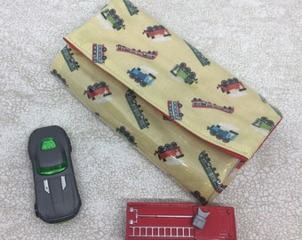 Toy train carrier with road, car wallet for car organisation, out and about car holder