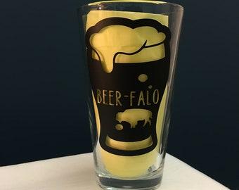 """Buffalo """"Beer-falo"""" Pint Glass"""