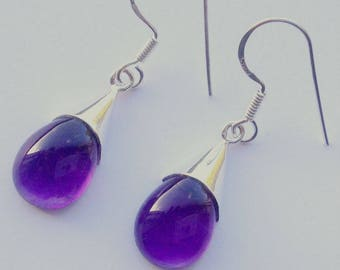 925 sterling silver genuine Amethyst melting frost earring, teardrop earring, capping earring