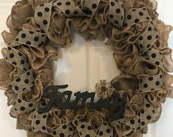 Burlap Black polka Dot Family Wreath