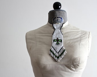 Native Necktie • Navajo Necktie • Navajo Jewelry • Navajo Beaded Tie • Southwestern Jewelry • Native American Beadwork • 1950s Thunderbird