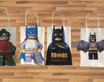 Batman Lego inspired idea for kids birthday Party decoration Favor Bag PRINTABLE Instant Download easy diy activity, birthday decor theme