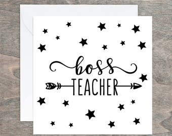 Thank you Card, Boss Teacher,Teacher Appreciation, Teaching Assistant, End of Term, Card for Teacher, Teaching Assistant, Teacher Gift