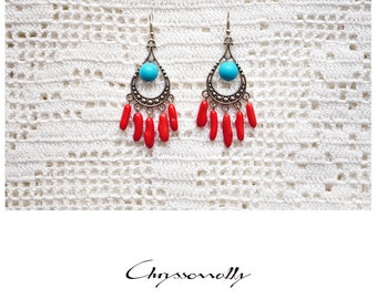 CGC026 - Silver boho chic earrings with red corals and turquoise stones.