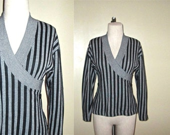 Vintage 90's hipster top WRAP FRONT striped long sleeve knit - M