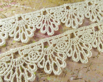 Ivory or White 30mm Scalloped Venise Lace Trim