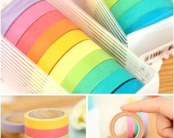 10 Colorful Mini Washi Tape Set, Rainbow Washi Tape (4A-1)