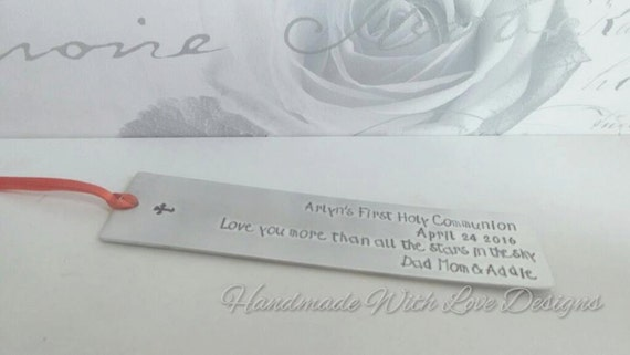 Holy Communion, Christening, Confirmation Gift Hand Stamped Bookmark