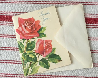 Vintage Thank You Card with Roses, Roses, Vintage Card, NOS, Greeting Card, With Envelope, Mail, Snail Mail, Retro, Special Occasions,