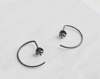 Hoop earrings, Edgy silver earrings, Minimalist earrings, Staple earrings
