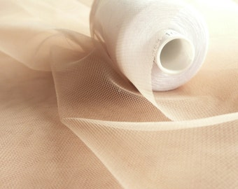 Super fine soft nude skin flesh coloured illusion tulle fabric 150cm wide - very delicate mesh - sold by the metre - prom, underskirt (H1)