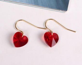 Cute Red Jewel Gemstone Heart Gold Earrings Kawaii