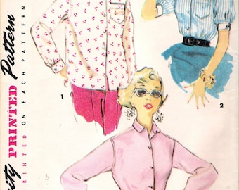"""Vintage 1954 Simplicity 4854 """"East To Make"""" Misses Shirt Sewing Pattern Size 14 Bust 32"""""""