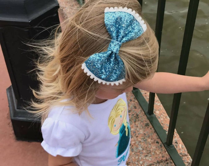 Anna and Elsa Glittery Bow Headband | Gold Glitter Bow | Cake Smash Bow | Baby Bow | Sparkle Bow | Frozen Bow