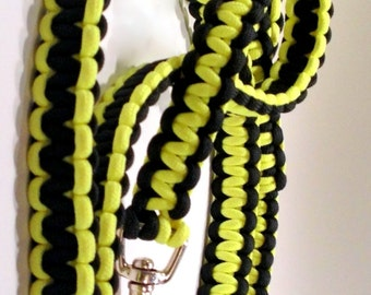 2, 4 or 6-ft Paracord Leash - Black and Yellow