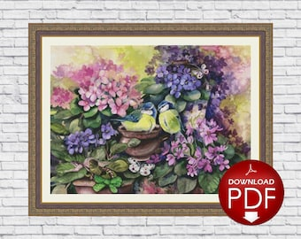 18. Mini Violet Nest (solid) - Counted Cross Stitch Pattern / Floral Cross Stitch Design / Cross Stitch Bird / Cross Stitch Flower / PDF