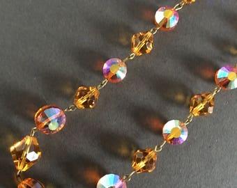 Vintage Glass Bead Necklace Orange Faceted Beads Aurora Borealis