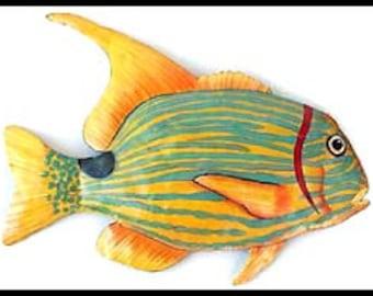 Tropical Fish Metal Art Painted Metal Wall Art 34  Garden Art Fish Wall Hanging Garden Decor Outdoor Metal Art Beach Decor K131-34-R  sc 1 st  Etsy & Outdoor Metal Art Tropical Fish Metal Wall Art Metal Art