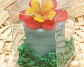 Large Blue Scented Soy Candle Votive Vintage Flower Hawaii Ocean Fragrance Favor Gift Box