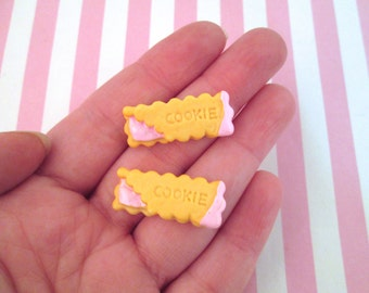 Pink Cookie Cabochons, Dessert Pastries , #081b