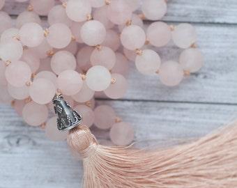 Pink Quartz Necklace / Summer tassel necklace / Rose quartz tassel necklace / Long pink tassel necklace /  Hand knotted quartz necklace
