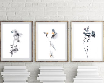 Minimalist floral art print set, set of 3 prints, watercolor print, minimalist abstract art, silver grey, white background
