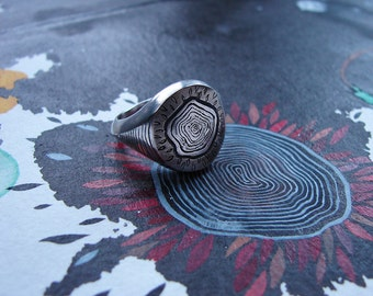 "Unisex chunky silver signet ring, ""Tree stump"" engraving, custom made engraving"