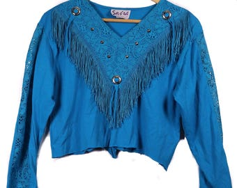 Western style long sleeve with lace and fringe