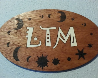 Monogrammed Inlay, Celestial theme, Engraved, Customized