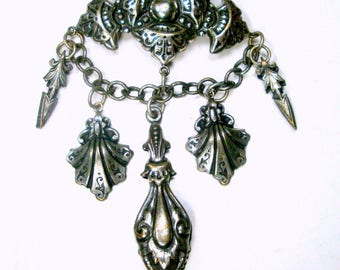 Royalty Medieval Charm Pin, Silvertone Chatelaine Brooch,  Stunning Crusader Pin, Thrones Game