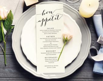 Bon Appetit Wedding Menu Templates, Editable Wedding Menu, Instant Download, DIY Wedding, Printable Wedding Menu Template, DIY Bride
