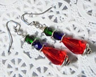 Red, Blue and Emerald Green Teardrop Earrings (3012)