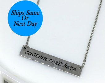 Custom Text Necklace, Silver Bar Necklace, Custom Bar Necklace, Engraved Bar Necklace, Engraved Silver Bar, Engraved Jewelry,Bar Necklace
