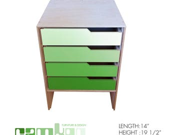 Green Mid Century Modern End Table / Night Stand / Mini Dresser