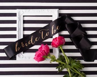 Bachelorette Sash, Bride To Be Sash, Gold on Black Sash, Bachelorette Party, Bridal Shower Sash, Future Mrs Sash, Custom Sash, Party Sash