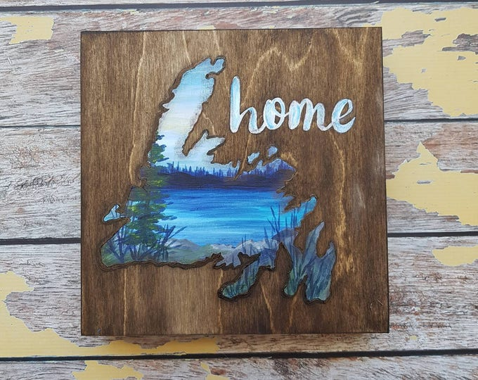 Newfoundland Art | Newfoundland Painting | Landscape Painting | 8×8 | Painting on Wood | Newfoundland Wall Art | Landscape Painting on Wood