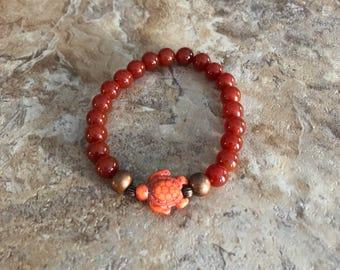 Carnelian Turtle Bracelet