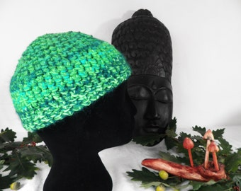 Emerald Green Hand Crocheted Beanie Hat  Size S - M