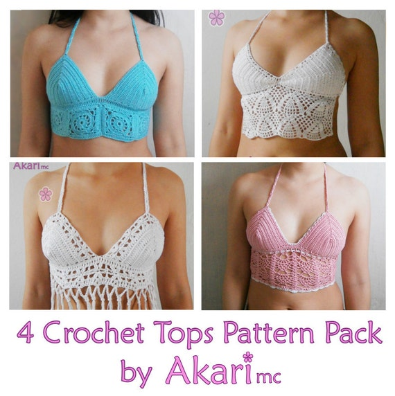 1 pattern FREE. 4 crochet crop tops. Top with granny squares