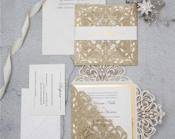 Square Glitter Laser Cut Wedding Invitations Mirror Wedding Laser Cut Black Gold Silver Rose Gold Champagne Gold Glitter Gold Silver Mirror