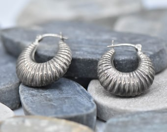 Sterling Silver Fluted Earrings