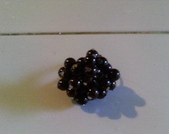 Garnet Cluster Ring, Gemstone, Garnet red, Gunmetal ring, Womens Fashion ring