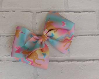 "Girls large 6"" inch rainbow unicorn Boutique Hair Bow like JoJo Siwa Bows Signature keeper dance moms"