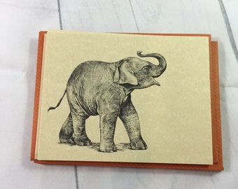 Vintage Elephant Note Cards / Set of 10 Notes & 10 Envelopes / ©1981 Small World Greetings /  gray elephant with upraised trunk