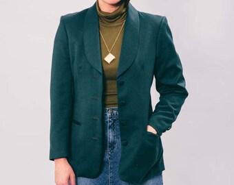 vintage green blazer | small | hunter green | 90s | the forest blazer