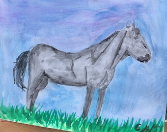 Powerful horse-watercolor on watercolor paper