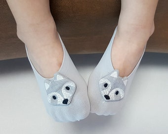Fox-baby socks, Baby Gift Newborn Baby Girl Socks with Fox,gray socks, baby shower gift,for baby boys and girls