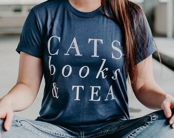 Cat Lover Gift - Cat Shirt - Book Lover - Cat Tshirt - Book Lover Gift - Cats Books and Tea - Kitten Tshirt - Reading Shirt, Funny Cat Shirt