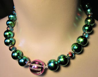 Green Necklace Turquoise Necklace Iredescent Pink Chunky Choker St Patricks Day Jewelry St Patricks Day Earrings Party Necklace Plus Size
