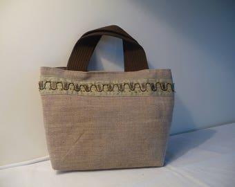 Linen and Brown canvas bag